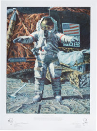 """Alan Bean Signed Limited Edition """"The Hammer and the Feather"""" Print, #334/650, also Signed by Dave Scott"""