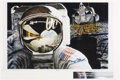 """Explorers:Space Exploration, B. E. Johnson Signed """"Reflection"""" Print, also Signed by Buzz Aldrin. ..."""