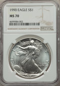 1990 $1 Silver Eagle MS70 NGC....(PCGS# 9836)