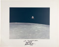 Explorers:Space Exploration, Apollo 12 Large Lunar Module Departure Color Photo on Presentation Mat Signed by and from the Family Collection of Mission Com...