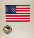 Explorers:Space Exploration, Apollo 12 Flown Large Size American Flag on Crew-Signed Presentation Mat Directly from the Family Collection of Mission Comman...