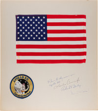 Apollo 12 Flown Large Size American Flag on Crew-Signed Presentation Mat Directly from the Family Collection of Mission...