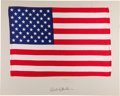 Explorers:Space Exploration, Apollo 12 Lunar Module Flown (Likely) Largest Size American Flag on a Presentation Mat Signed by Richard Gordon, Directly from...