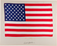 Apollo 12 Lunar Module Flown (Likely) Largest Size American Flag on a Presentation Mat Signed by Richard Gordon, Directl...