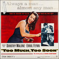 "Movie Posters:Drama, Too Much, Too Soon (Warner Brothers, 1958). Six Sheet (78.5"" X 79""). Drama.. ..."