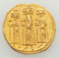 Ancients:Byzantine, Ancients: Heraclius, with Heraclius Constantine and Heraclonas (AD610-641). AV solidus (19mm, 4.07 gm, 6h).Good Very Fine,light weigh...