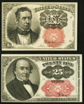 Fractional Currency:Fifth Issue, Fr. 1266 10¢ Fifth Issue Choice About New;. Fr. 1309 25¢ FifthIssue Extremely Fine, Bundle Hole.. ... (Total: 2 notes)