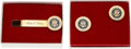 Explorers:Space Exploration, Neil Armstrong: Richard Nixon Presidential Seal Cufflinks and Tie Clasp Directly From The Armstrong Family Collection™, Certif... (Total: 2 Items)