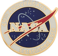 Neil Armstrong: NASA 45th Anniversary Pin Directly From The Armstrong Family Collection™, Certified by Collectibles Auth...