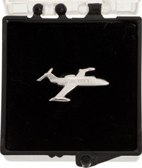Neil Armstrong: Silver Learjet Tie Tack in the Original Plastic Box Directly From The Armstrong Family Collection™, Cert...