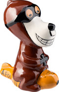 Explorers:Space Exploration, Apollo 11: Ceramic Snoopy-like Character in Goggles Riding a Plane with Painted Mission and Crewmember Names Directly From The...