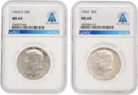 1964 and 1964-D 50¢ MS64 NGC Kennedy Silver Half Dollars (Two) Directly From The Armstrong Family Colle