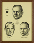 Explorers:Space Exploration, Apollo 11: NASA 1969 Crew Print with Facsimile Signatures, in Frame, Directly From The Armstrong Family Collection™, Certi...