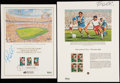 Autographs:Others, Pele Signed Commemorative Stamp Sheet Lot of 2.... (Total: 2 items)