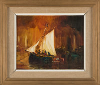 Chilean Sailboat Painting Directly From The Armstrong Family Collection™, Certified by Collectibles Authentication Guara...