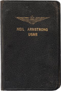 Explorers:Space Exploration, Neil Armstrong: Small Navy Aviator's Notebook with Extensive Handwritten Notes Regarding Aircraft and Some Personal Content, C...