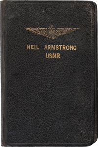 Neil Armstrong: Small Navy Aviator's Notebook with Extensive Handwritten Notes Regarding Aircraft and Some Personal Cont...