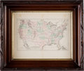Explorers:Space Exploration, United States: 1882 Hand-Colored Map by G.W. & C. Colton & Co., in Vintage Frame, Directly From The Armstrong Family Colle...