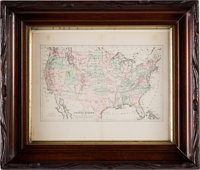 United States: 1882 Hand-Colored Map by G.W. & C. Colton & Co., in Vintage Frame, Directly From The Armstrong Fa...