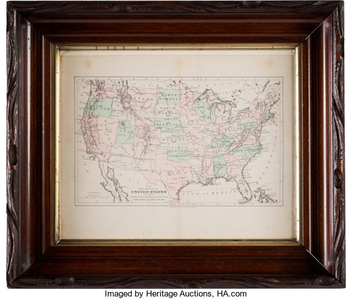 Explorers E Exploration United States 1882 Hand Colored Map By G W Amp