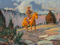 Fine Art - Painting, American, Harold Dow Bugbee (American, 1900-1963). The Cowboy. Oil oncanvasboard. 9 x 12 inches (22.9 x 30.5 cm). Signed lower ri...
