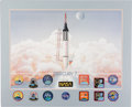 Explorers:Space Exploration, Mercury Seven Astronauts: George Bishop Signed Limited Edition Lithograph, #1470/1500, also Signed by Six Original Astronauts,...