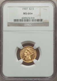 1907 $2 1/2 MS64★ NGC. NGC Census: (2212/1637 and 2/24*). PCGS Population: (2503/1847 and 2/24*). MS64. Mintage 336,200...