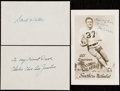 Autographs:Letters, Football Greats - Doak Walker & Charlie Justice - Signed Cut & Postcard Lot of 3....
