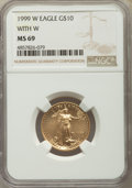 1999-W $10 Quarter-Ounce Gold Eagle, Unfinished Proof Dies, FS-401, MS69 NGC....(PCGS# 511607)