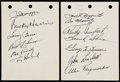 Autographs:Letters, c. 1940s Yankee-Heavy Baseball Greats Signed Album Page Lot of 5(21 Signatures) with 5 Hall of Famers and Bill Veeck....
