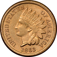 1863 1C Cent, MS64 NGC. Satiny, luminous surfaces display tan-gold coloration with warmer golden-orange undertones. The...