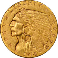 1914-D $2.50 Quarter Eagle, MS61 NGC. Original olive-gold surfaces are lustrous, satiny, and display warm peach-orange h...