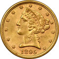 Additional Certified Coins, 1895 $5 Half Eagle, MS63 NGC. Frosted prairie-gold luster showsremarkably few abrasions for the grade on this Select 1895 ...(Total: 3 coins)