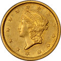1854 G$1 Type One Gold Dollar, MS61 NGC. A sharp final-year Type One gold dollar with original straw-gold and peach lust...