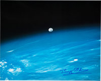 Buzz Aldrin Signed Large Color Photo of the Moon Taken from the Space Shuttle Columbia Origi
