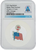 Explorers:Space Exploration, Neil Armstrong: U.S. Flag Tab Button Directly From The Armstrong Family Collection™, Certified and Encapsulated by Collect...