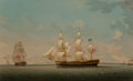 Paintings, Robert Salmon (Scottish-American, 1775-1844). The Estridge in Two Views Off Dover, 1880. Oil on canvas. 26-1/2 x 43 inch...