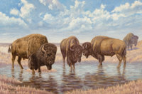 Emil Lenders (American, 1865-1934) Buffalo on the Plains Oil on canvas 20-1/4 x 30-1/4 inches (51