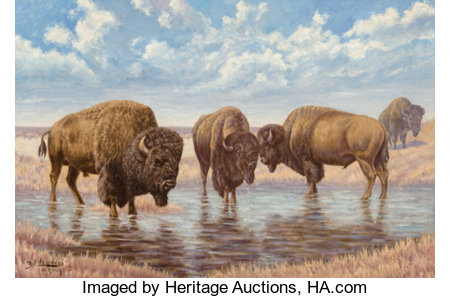 Emil Lenders (American, 1865-1934)Buffalo on the PlainsOil on canvas20-1/4 x 30-1/4 inches (51.4 x 76.8 cm)Signe...