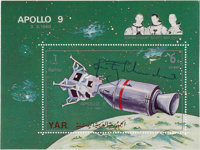 "Sieger Original Souvenir Sheet: Rusty Schweickart Signed Yemen ""Apollo 9"" Singe; Stamp Sheet"
