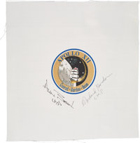 Apollo 12: Beta Cloth Mission Insignia Signed by Alan Bean and Richard Gordon Directly from the Family Collection of Ric...