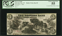 Salt Lake City, UT - Drovers Bank $3 July 1, 1856 G6a Rust 85