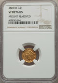 1860-D G$1 -- Mount Removed -- NGC Details. VF. NGC Census: (1/61). PCGS Population: (0/74). CDN: $2,800 Whsle. Bid for...