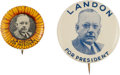 Political:Pinback Buttons (1896-present), Alf Landon: Two Scarce Litho Picture Pins.... (Total: 2 Items)