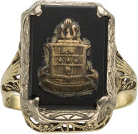 Jewelry: Janet Armstrong's Alpha Chi Omega Sorority Black Onyx and Gold Ring Directly From The Armstrong Family Collecti...