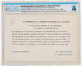 Explorers:Space Exploration, Gemini Goodwill Tour: Original Invitation from the President of the Columbian Society of Engineers Directly From The Armstrong...