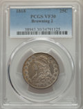 Bust Quarters, 1818 25C B-2, R.1, VF30 PCGS. Tompkins Die State 3/1.. Ex: Long Beach Signature (Heritage, 2/2006), lot 7884, which reali...