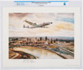 Explorers:Space Exploration, Lockheed Constellation Over Kansas City Signed Print Directly From The Armstrong Family Collection™, Certified and Encapsulate...