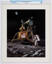 Neil Armstrong Setting Foot on the Moon Reprint Directly From The Armstrong Family Collection™, Certified and Encapsulat...