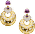 Estate Jewelry:Earrings, Diamond, Amethyst, Gold Earrings . ...